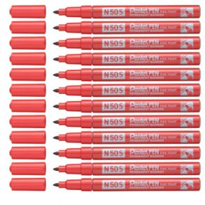 Pentel N50S Red Fine Permanent Marker Pack of 12